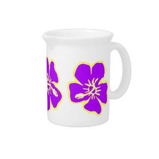 El hibisco púrpura florece Luau hawaiano tropical Jarron