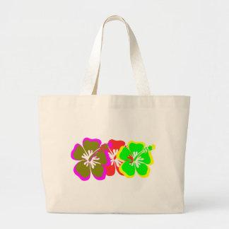 el hibisco rojo, amarillo, azul, marrón florece bolsa de mano