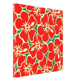 El hibisco rojo florece arte hawaiano tropical de lona estirada galerias