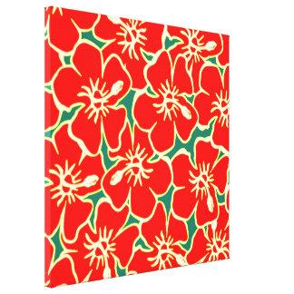 El hibisco rojo florece arte hawaiano tropical de impresion de lienzo
