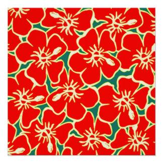 El hibisco rojo florece Luau hawaiano tropical