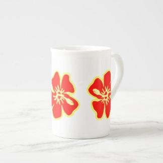 El hibisco rojo florece Luau hawaiano tropical Taza De Porcelana