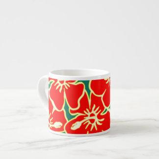 El hibisco rojo florece Luau hawaiano tropical Tazas Espresso