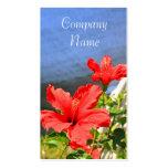 El hibisco rojo florece tarjetas de visita