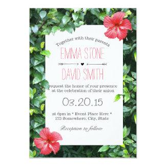 """El hibisco rojo tropical florece el boda hawaiano invitación 5"""" x 7"""""""