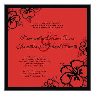 El hibisco rojo y negro florece el boda de encargo anuncios