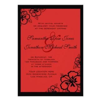 El hibisco rojo y negro florece el boda de encargo comunicado personalizado