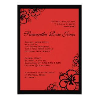 El hibisco rojo y negro florece la ducha nupcial invitación personalizada