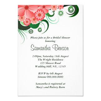 El hibisco rosado floral que casa la ducha nupcial invitación 12,7 x 17,8 cm