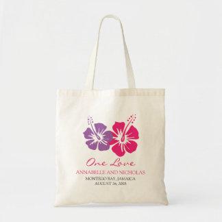 El hibisco tropical florece a la huésped del boda bolsa tela barata
