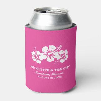 El hibisco tropical florece el boda fucsia del | enfriador de latas