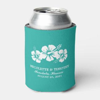 El hibisco tropical florece el boda oscuro del enfriador de latas