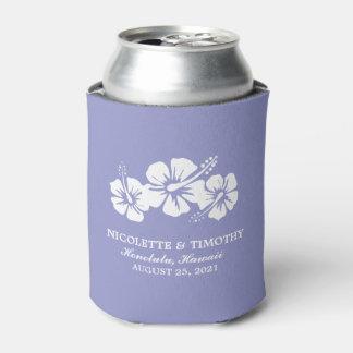 El hibisco tropical florece el boda púrpura de la enfriador de latas