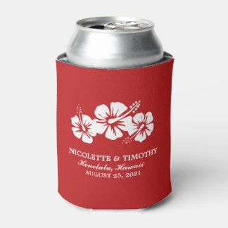 El hibisco tropical florece el boda rojo del | enfriador de latas