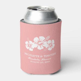 El hibisco tropical florece el boda rosado del | enfriador de latas