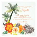 El hibisco tropical florece la ducha nupcial invitación 13,3 cm x 13,3cm