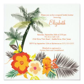 """El hibisco tropical florece la ducha nupcial invitación 5.25"""" x 5.25"""""""
