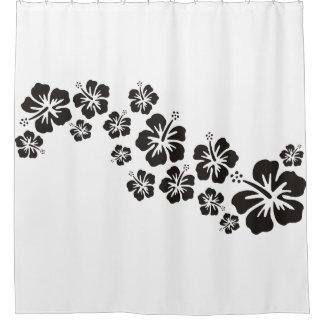 El hibisco tropical florece negro de la guirnalda cortina de baño