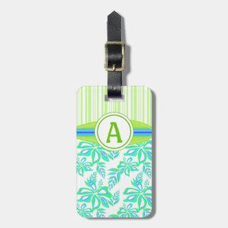 El hibisco verde del monograma florece la playa etiqueta de equipaje