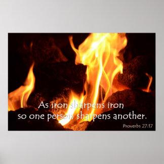 El hierro afila el poster de los proverbios del hi