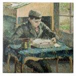 El hijo del artista, 1893 (aceite en lona) azulejo cuadrado grande