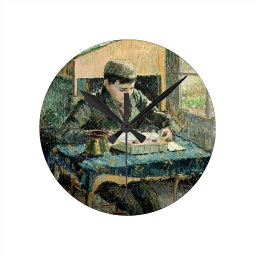 El hijo del artista, 1893 (aceite en lona) reloj redondo mediano