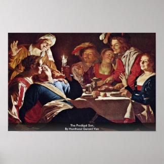 El hijo despilfarrador por Honthorst Gerard Van Poster