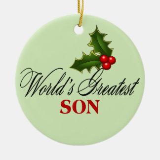 El hijo más grande del mundo adorno navideño redondo de cerámica