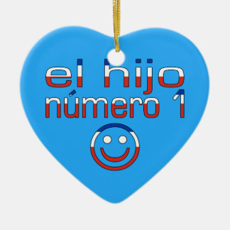 El Hijo Número 1 - Number 1 Son in Chilean Double-Sided Heart Ceramic Christmas Ornament