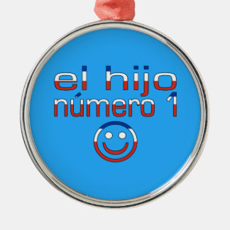 El Hijo Número 1 - Number 1 Son in Chilean Round Metal Christmas Ornament