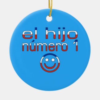 El Hijo Número 1 - Number 1 Son in Chilean Double-Sided Ceramic Round Christmas Ornament
