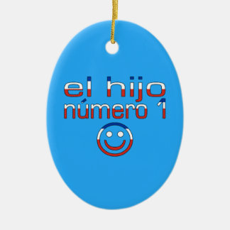 El Hijo Número 1 - Number 1 Son in Chilean Double-Sided Oval Ceramic Christmas Ornament