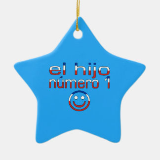 El Hijo Número 1 - Number 1 Son in Chilean Double-Sided Star Ceramic Christmas Ornament