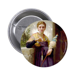 El hilandero, William-Adolphe Bouguereau Pin Redondo 5 Cm
