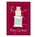 El hilo de coser encanilla día de fiesta del navid felicitación