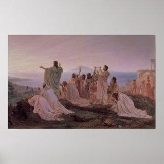 El himno al sol naciente, 1869 de los pitagóricos póster