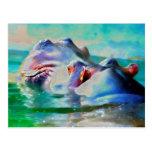 El hipopótamo azul postal