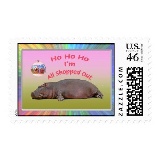 El hipopótamo divertido hizo compras todo hacia fu franqueo