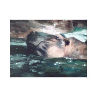 El hipopótamo envolvió la impresión de la lona impresiones de lienzo