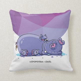 El hipopótamo púrpura del safari divertido embroma almohada