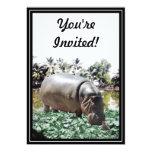 El hipopótamo y el pájaro invitación 12,7 x 17,8 cm