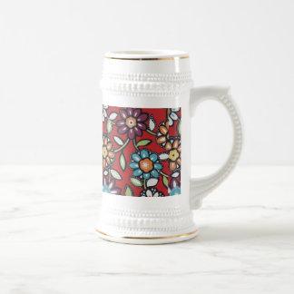 el hippe colorido florece el stein jarra de cerveza
