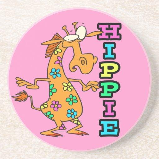 el hippie lindo florece el personaje de dibujos an posavasos personalizados
