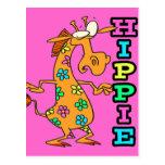 el hippie lindo florece el personaje de dibujos an postales