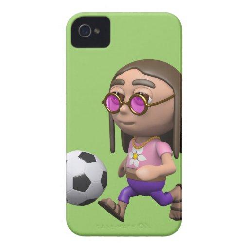 el hippy 3d juega al fútbol (cualquier color U com iPhone 4 Case-Mate Cobertura