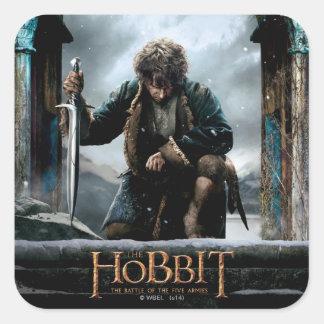 El Hobbit - cartel de película de BILBO BAGGINS™ Calcomanía Cuadradas Personalizada