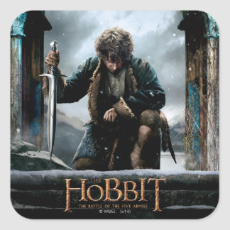 El Hobbit - cartel de película de BILBO BAGGINS™ Pegatina Cuadrada