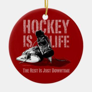 El hockey es vida adorno navideño redondo de cerámica