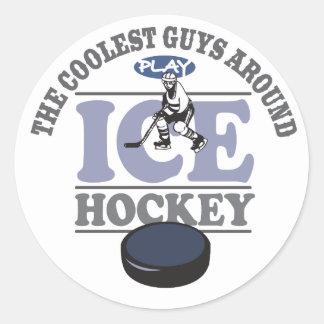 El hockey más fresco del juego de los individuos pegatina redonda