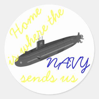 el hogar es adonde la marina de guerra nos envía a pegatina redonda